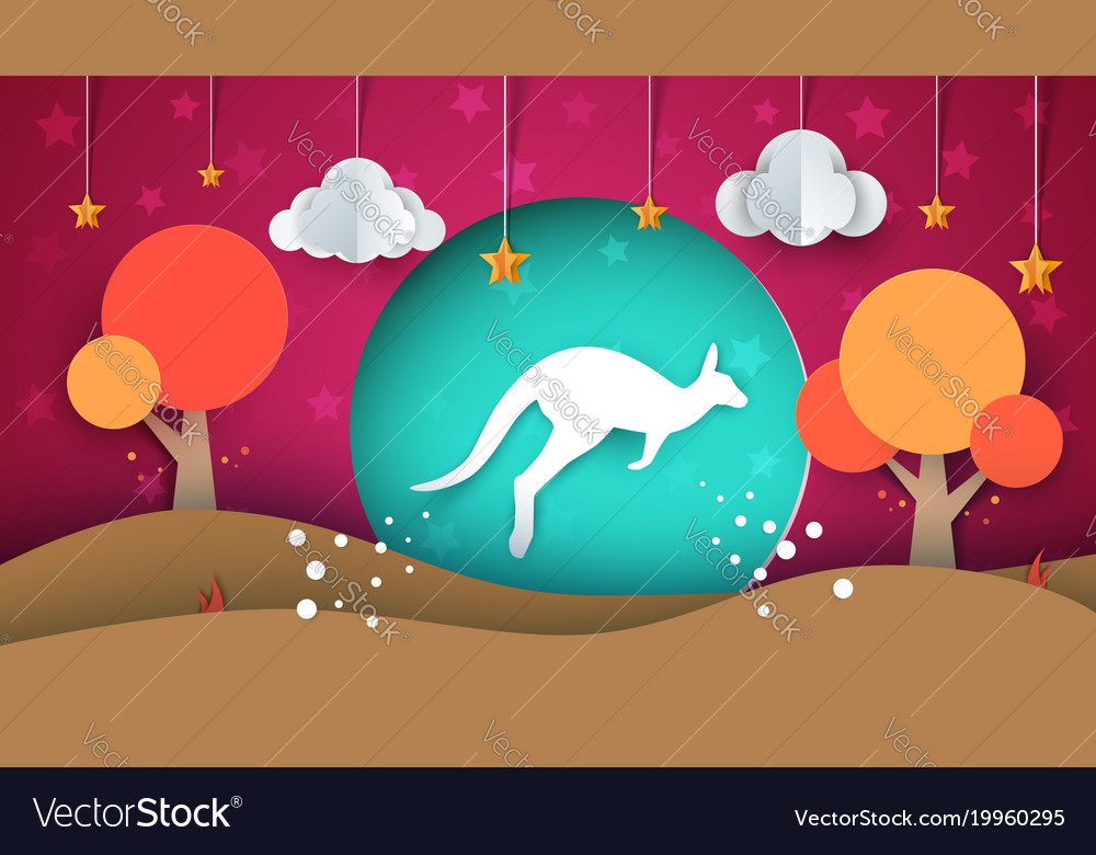 Cartoon paper landscape kangaroo