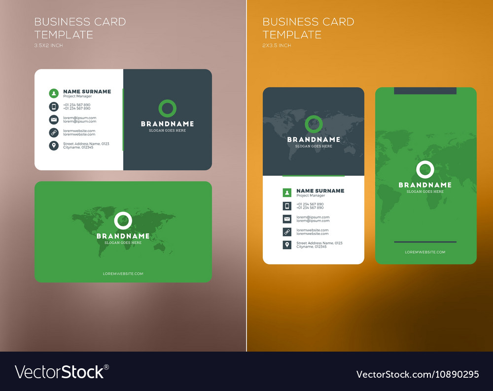 Corporate business card print template vertical vector image flashek