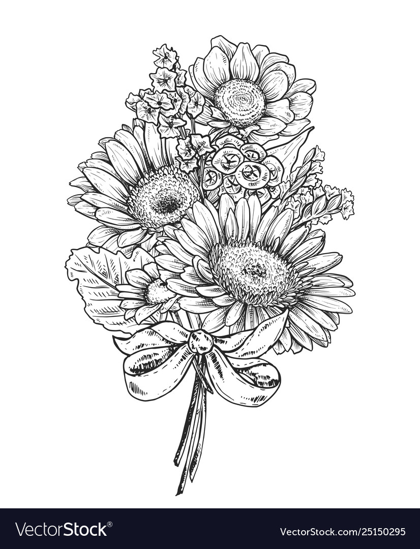 Floral composition bouquet with hand drawn