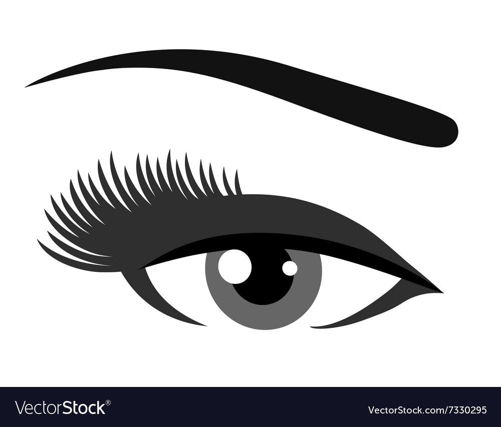 Grey eye with eyelashes