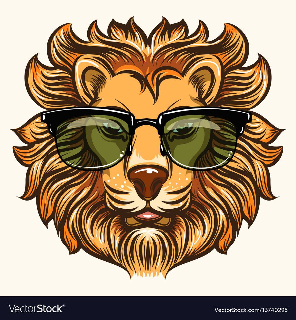 Lion in glasses in cartoon style