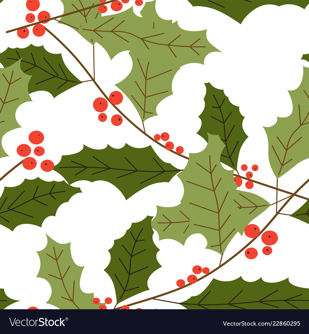 Merry Christmas Symbolic Mistletoe Plant With Vector Image