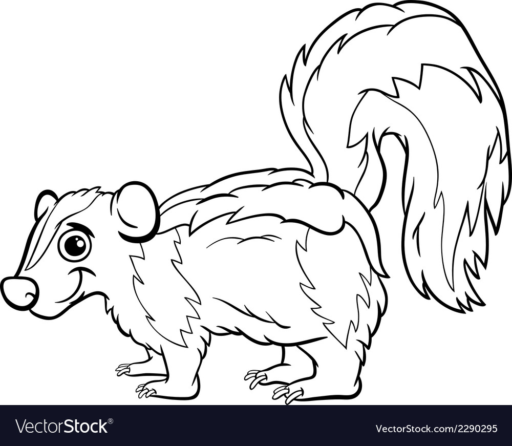 Great Skunk Animal Cartoon Coloring Page Vector Image