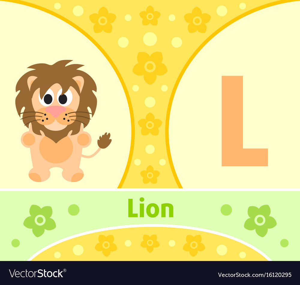The english alphabet with lion