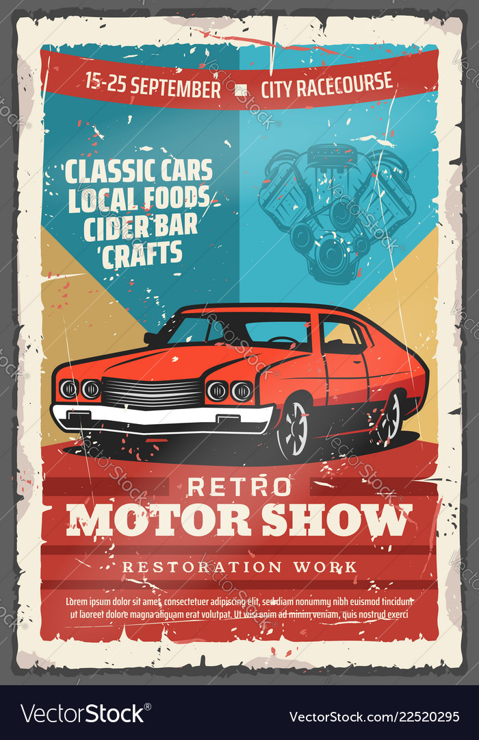 Vintage classic car retro motor show