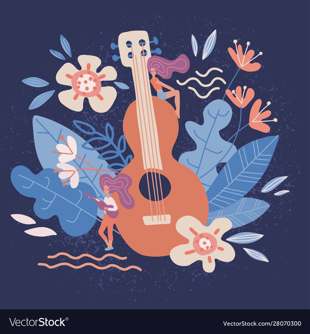 Acoustic guitar in flowers musical instruments