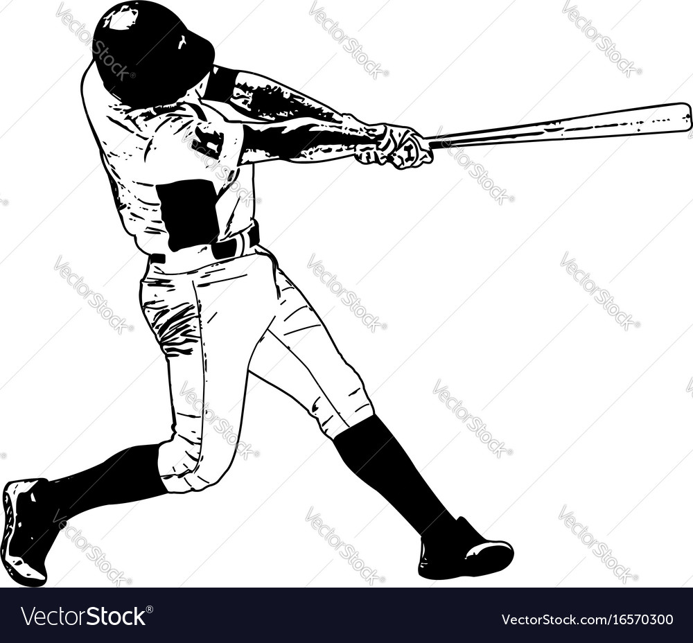baseball player sketch royalty free vector image rh vectorstock com girl baseball player vector female baseball player vector