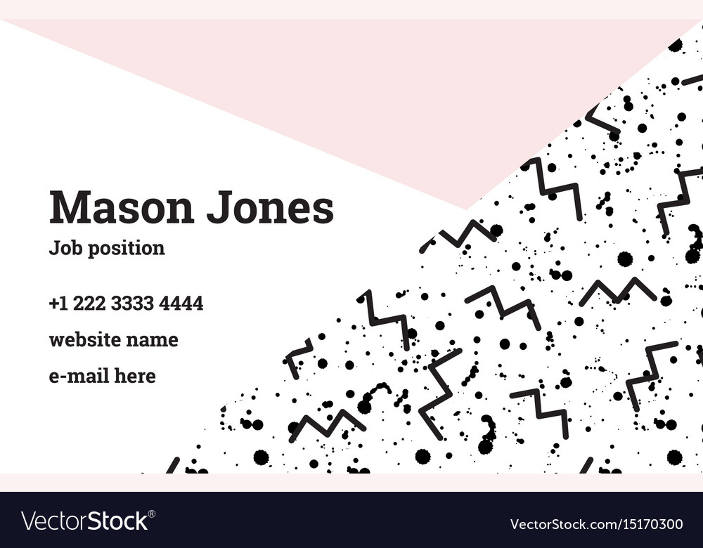 Business card template in style memphis