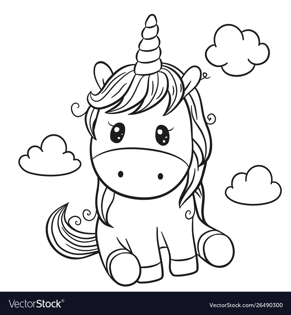 Cartoon unicorn outlined for coloring book Vector Image