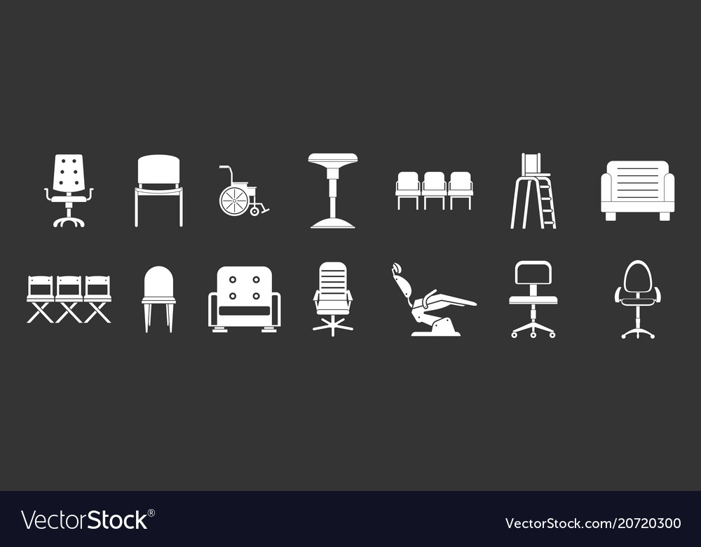 Chair icon set grey