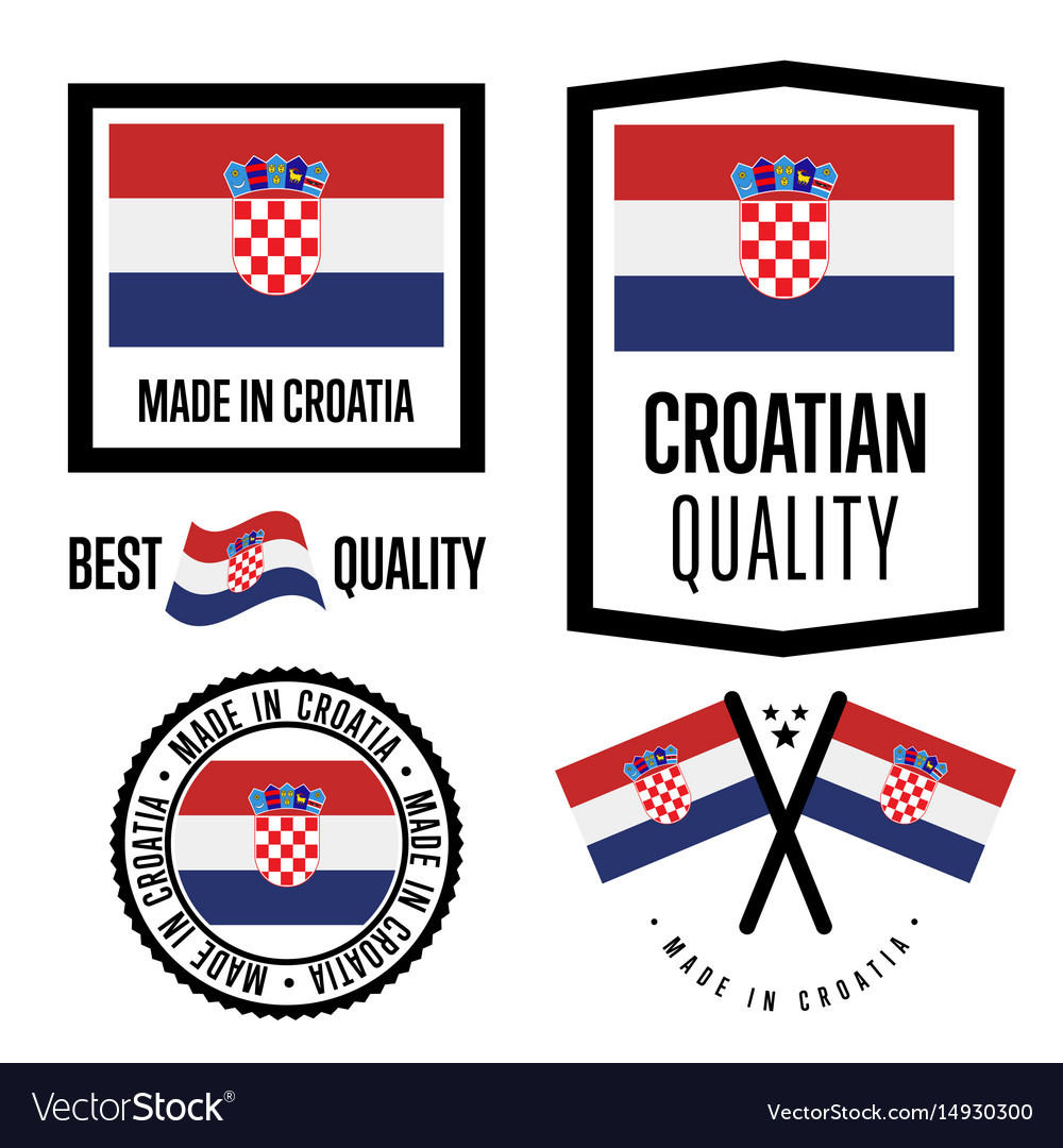 Croatia quality label set for goods vector image