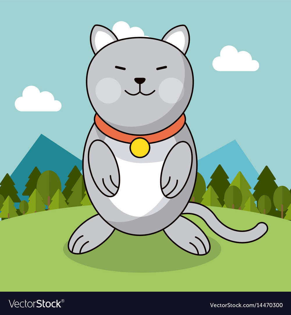 Cute cat with collar adorable landscape natural vector image