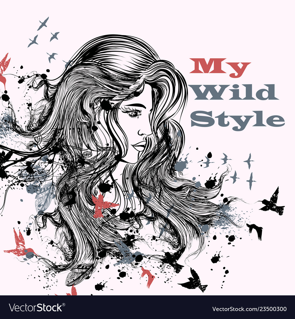 Cute Girls Face With Long Hair Sketch Style Vector Image