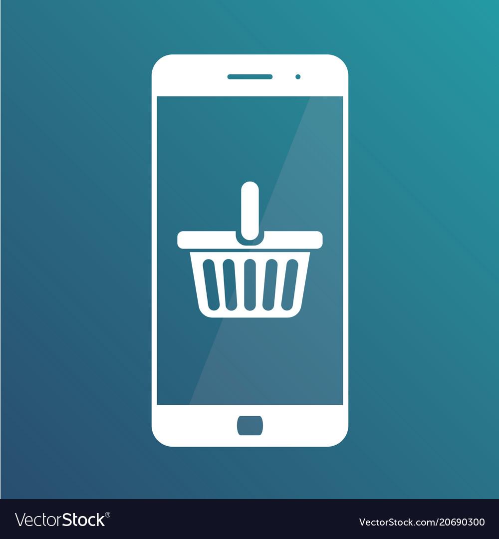 E-commerce flat design concept cart icon using