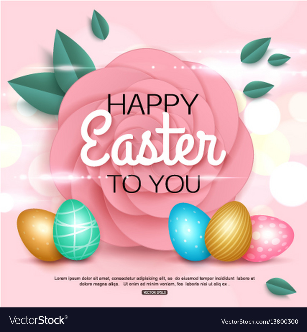 Easter greeting card with colorful eggs paper rose vector image