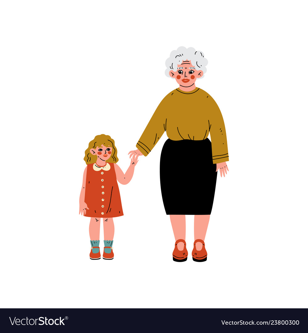 Granny and her granddaughter standing and holding