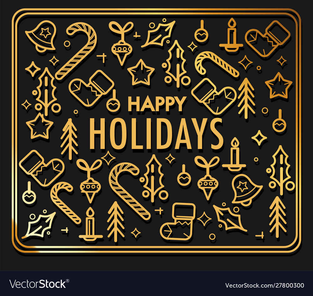 Happy holidays greeting card with gold christmas