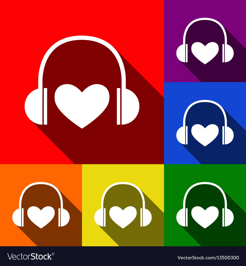 Headphones with heart set of icons with