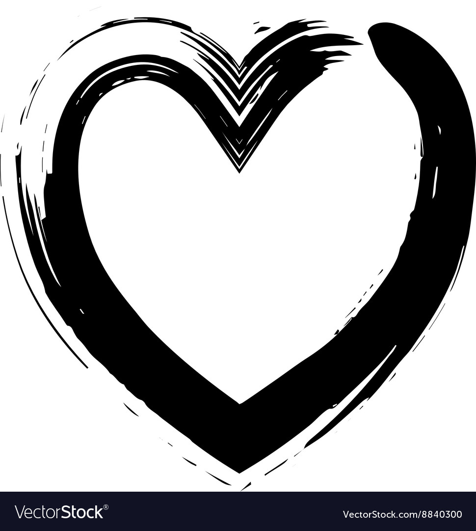 Heart shape symbol love black vector image