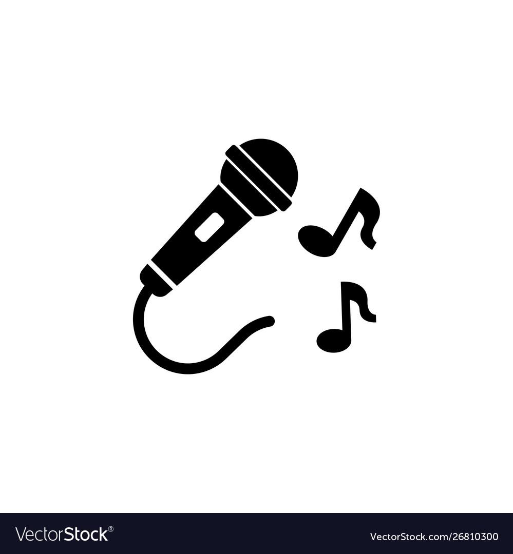 Karaoke microphone sing music flat icon