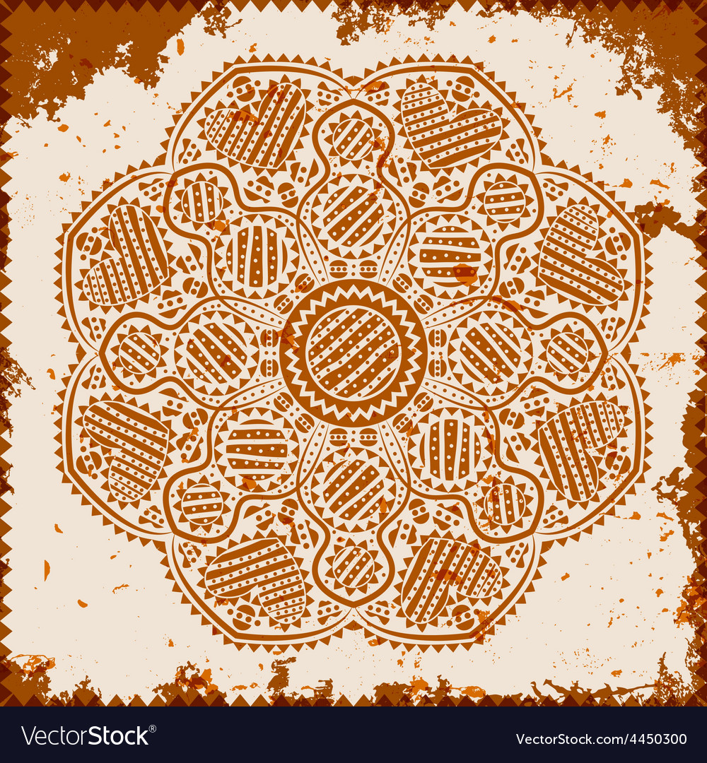 Lace ornament on grunge background vector image