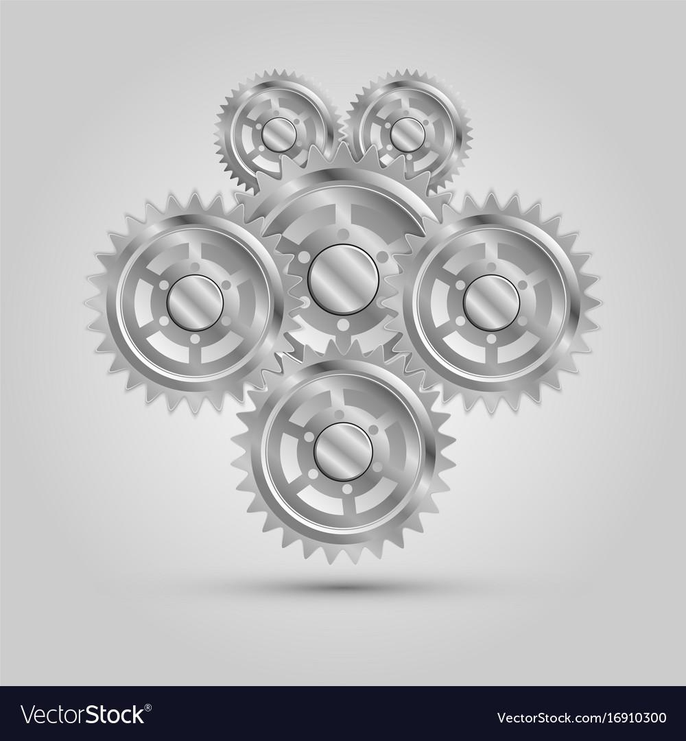 Metal mechanical gear parts engine machine vector image