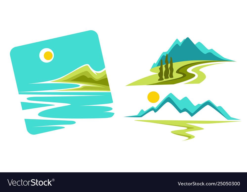 Mountains landscape and seascape or ocean coast
