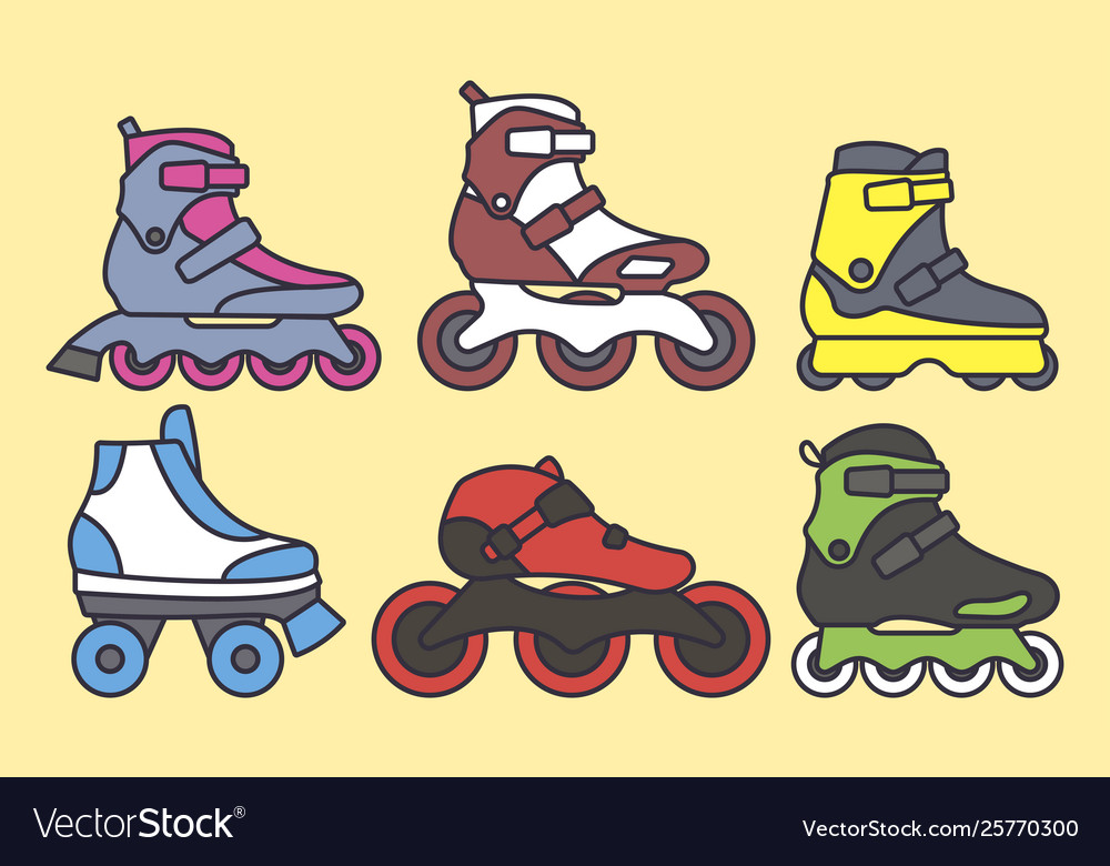 Set inline roller skates colored icons
