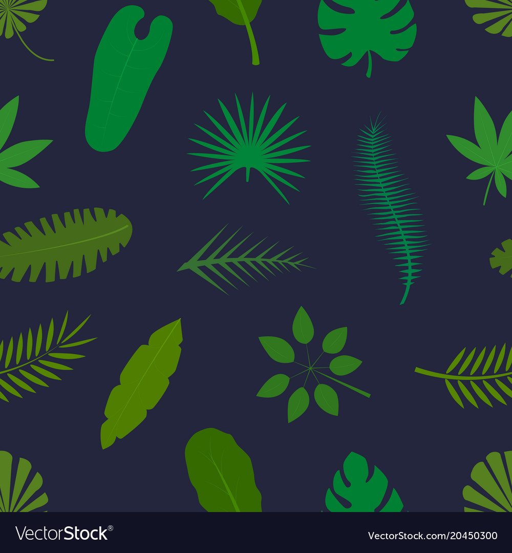 Tropical palm leaves green silhouettes seamless