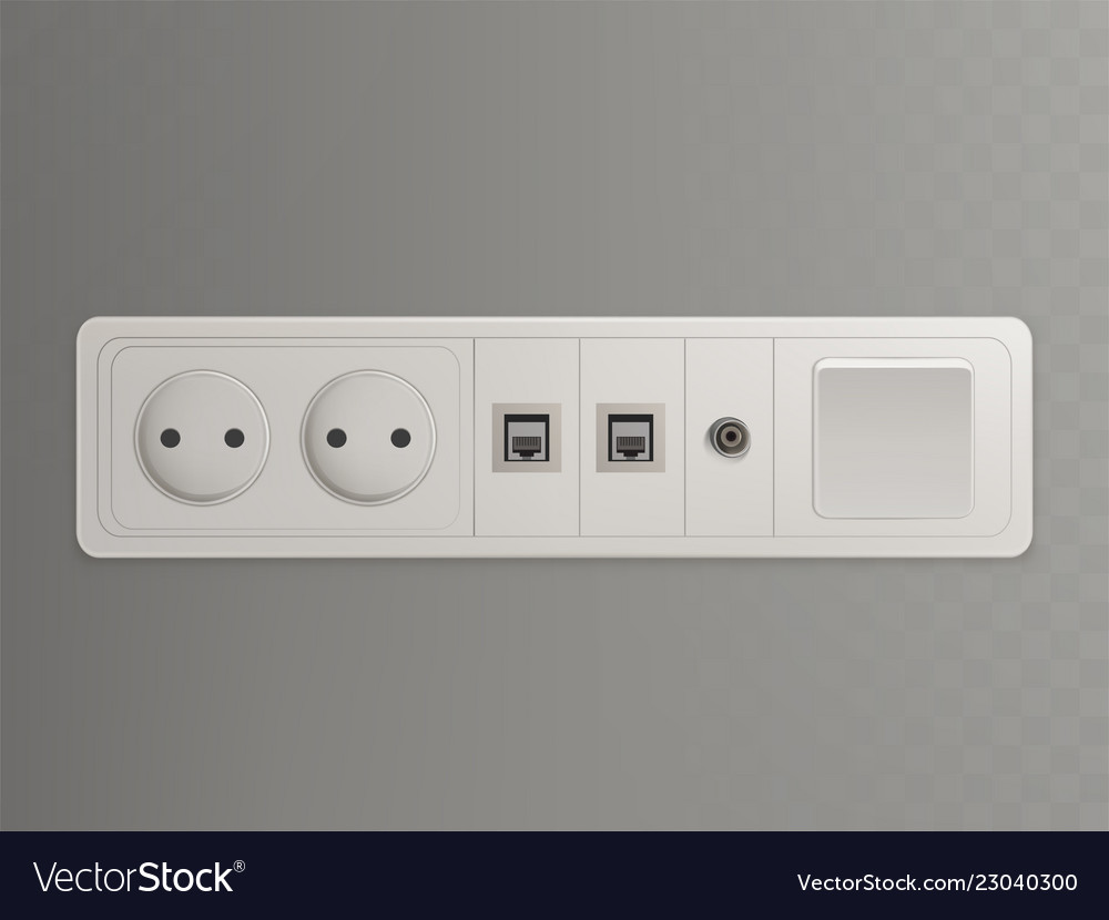 Wall outlet with different sockets 3d