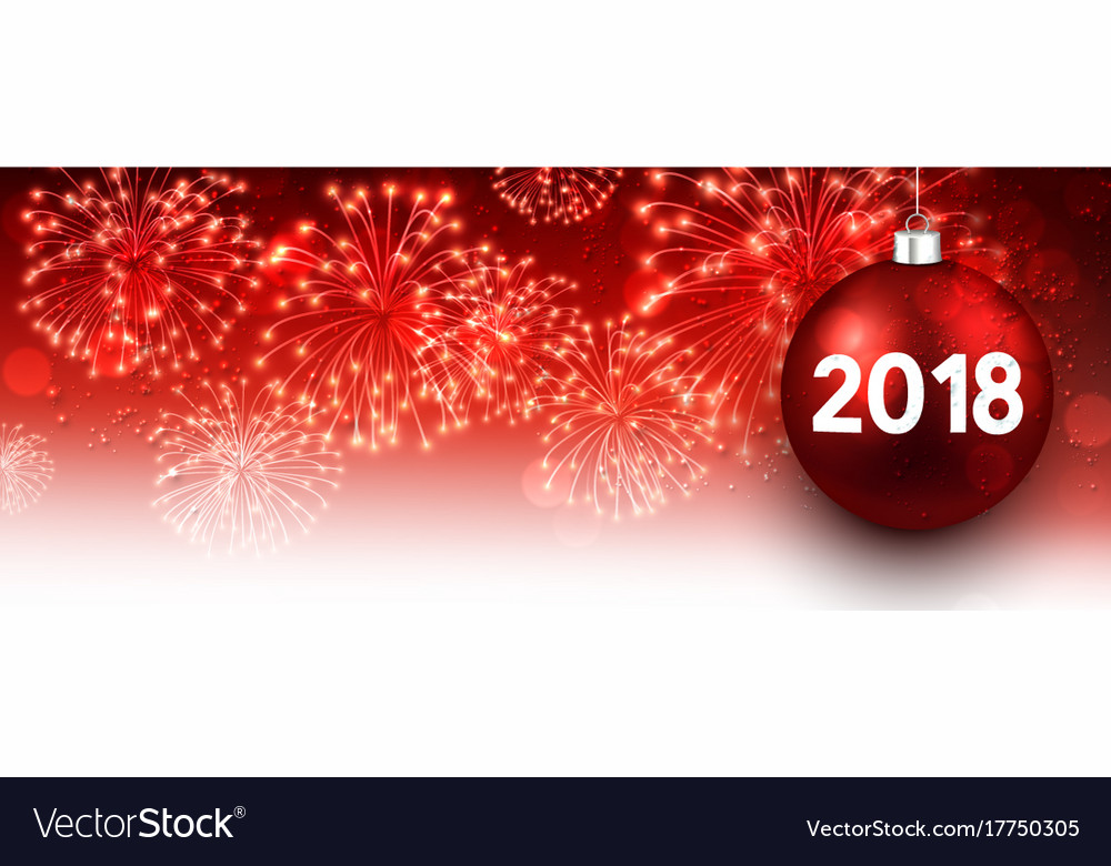 2018 new year banner with fireworks vector image