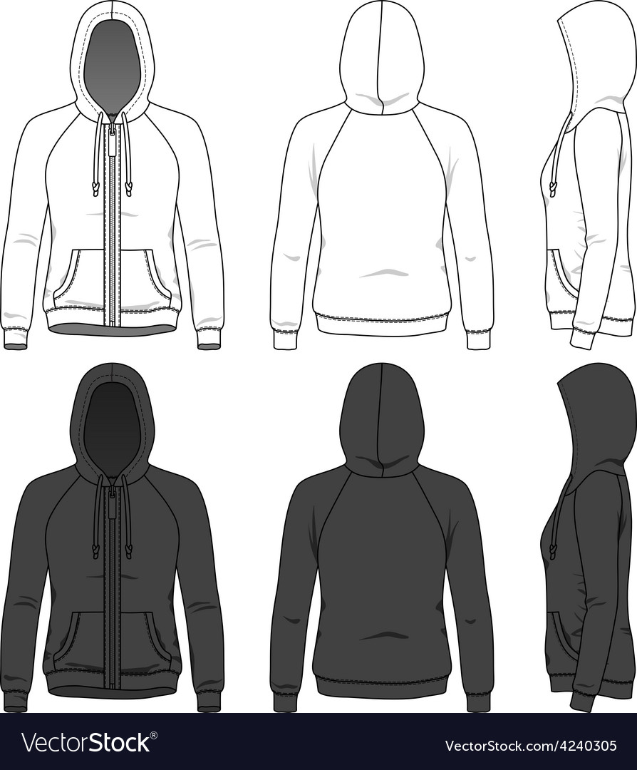 Front back and side views of blank hoodie vector image
