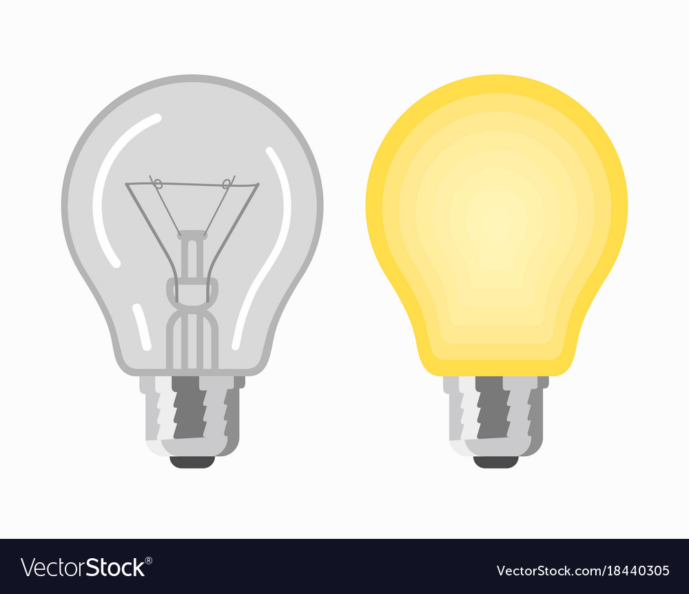 Glowing And Turned Off Light Bulbs Royalty Free Vector Image