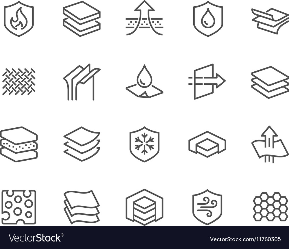 Line Layered Material Icons vector image