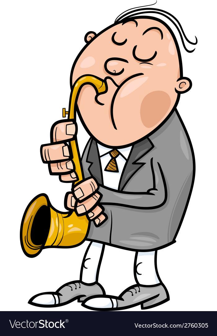 Man with saxophone cartoon vector image