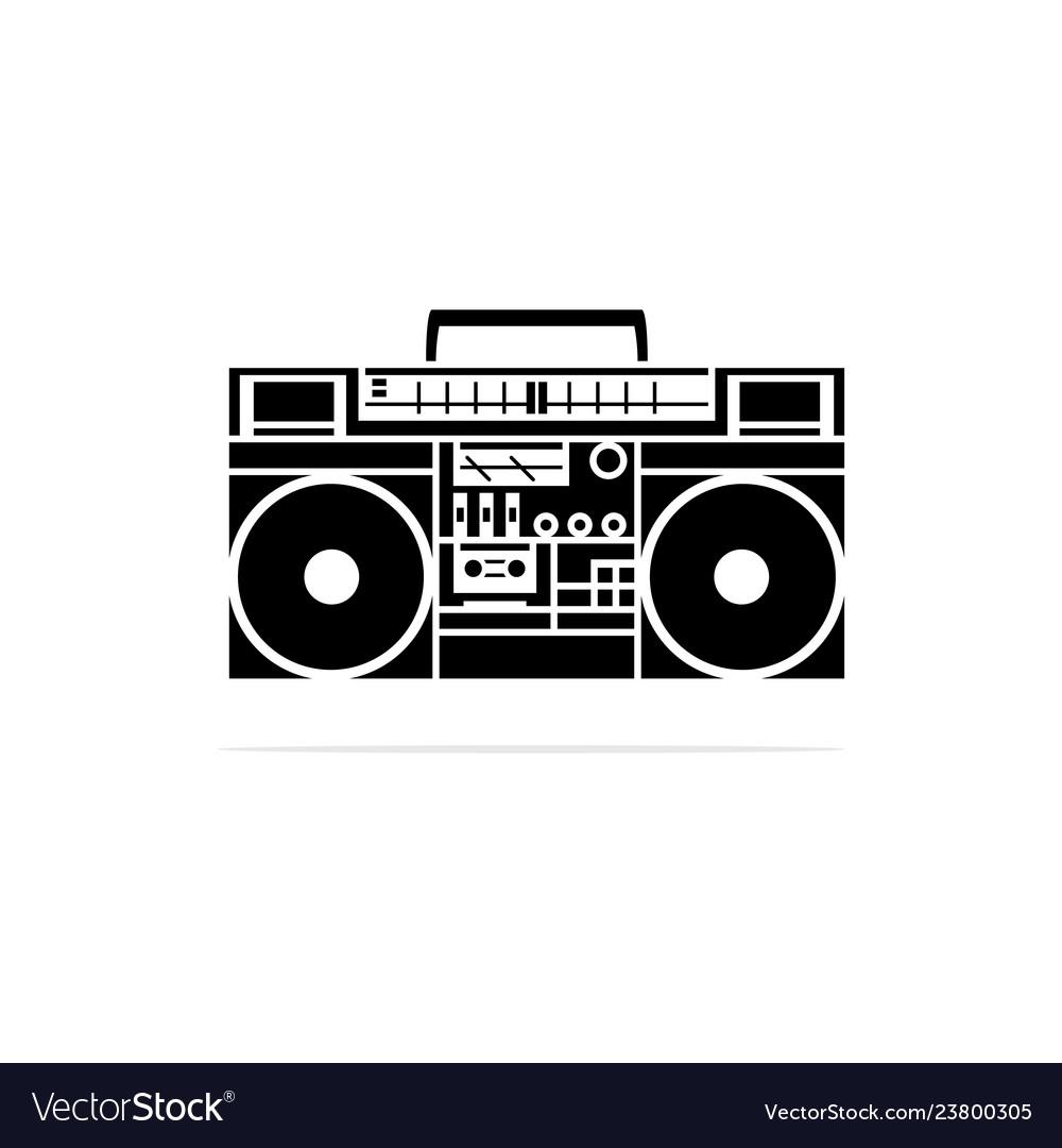 Portable cassette player radio icon concept