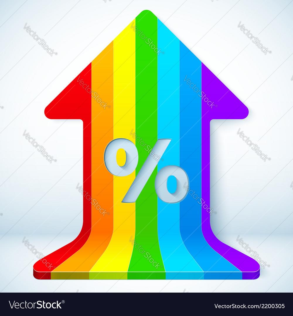 Rainbow grow up arrow with percent sign