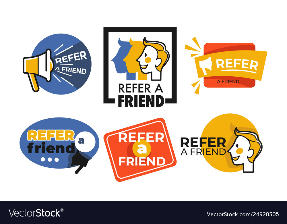 Refer friend web button isolated icons megaphone