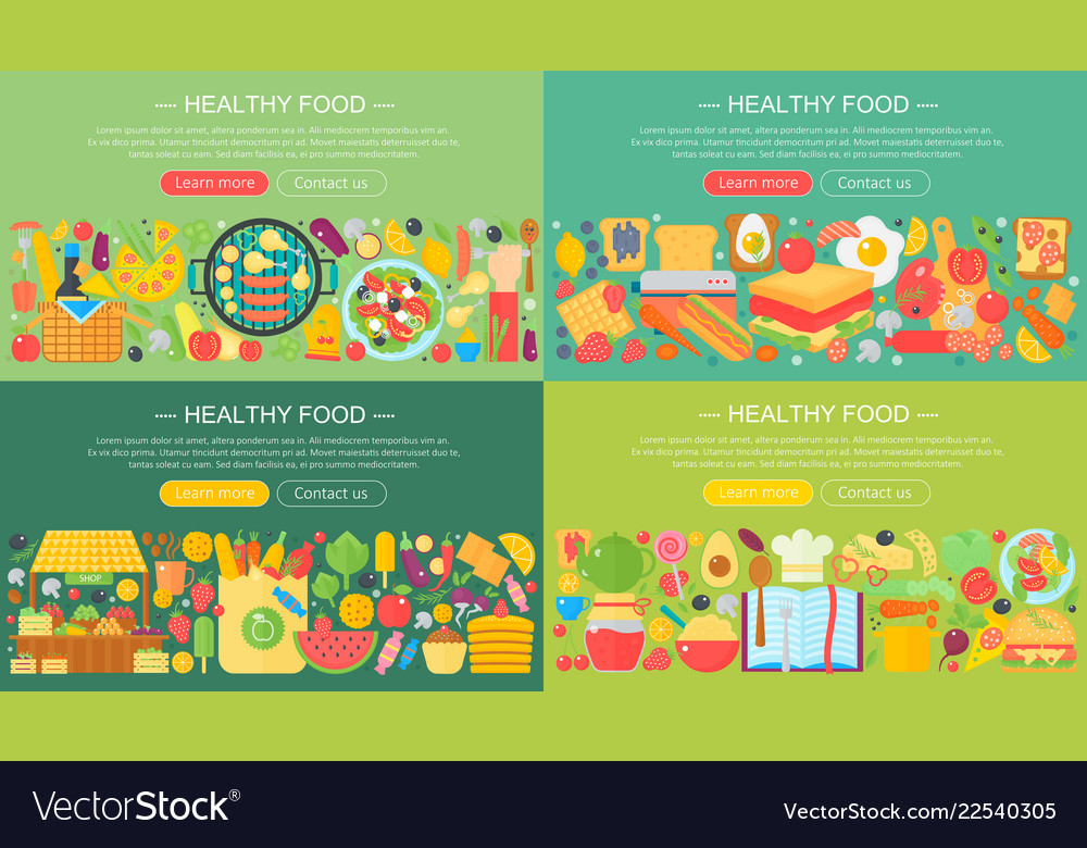Set trendy flat design concepts for food