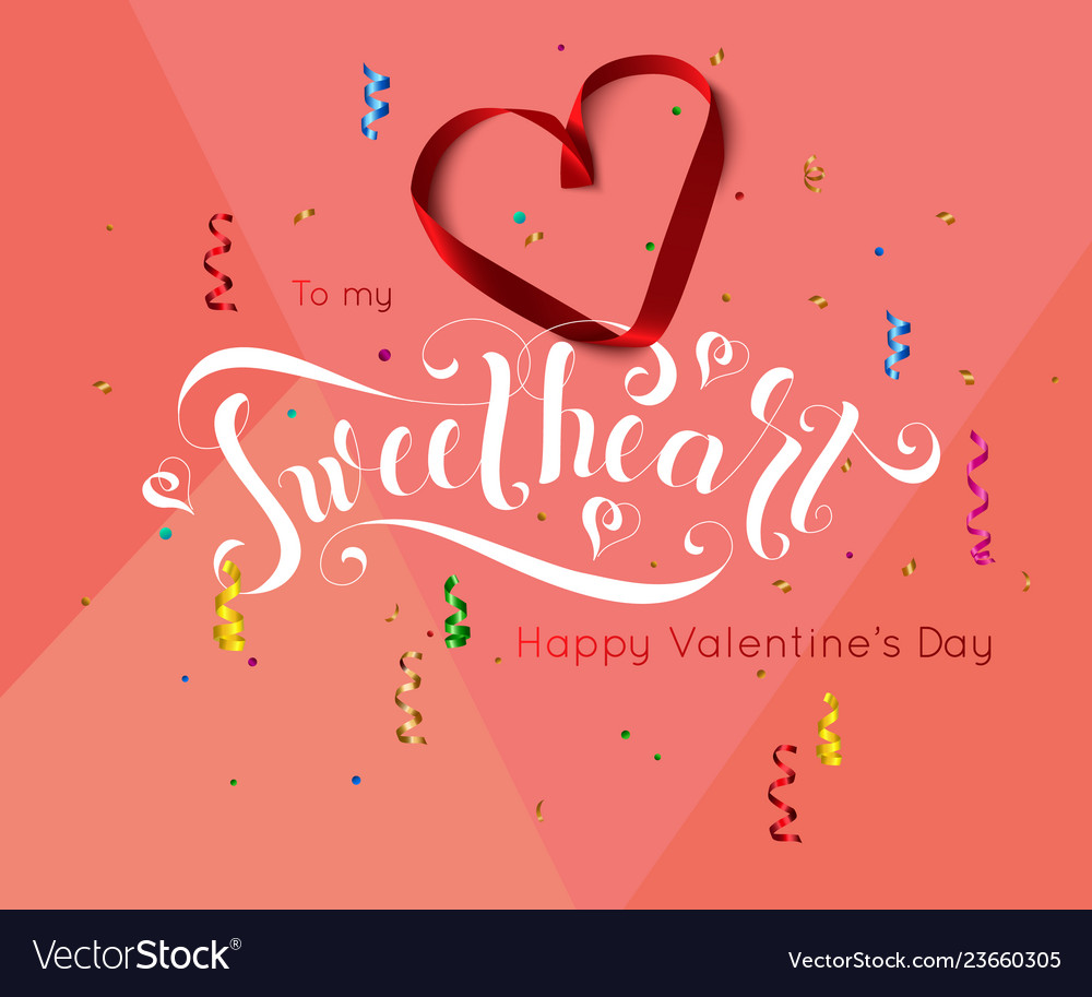 Valentine day background with hand drawn lettering