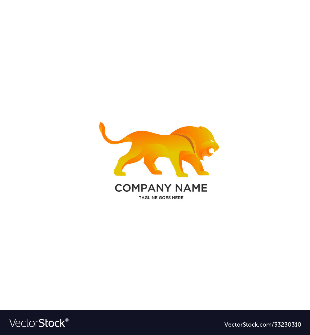 Abstract golden lion logo
