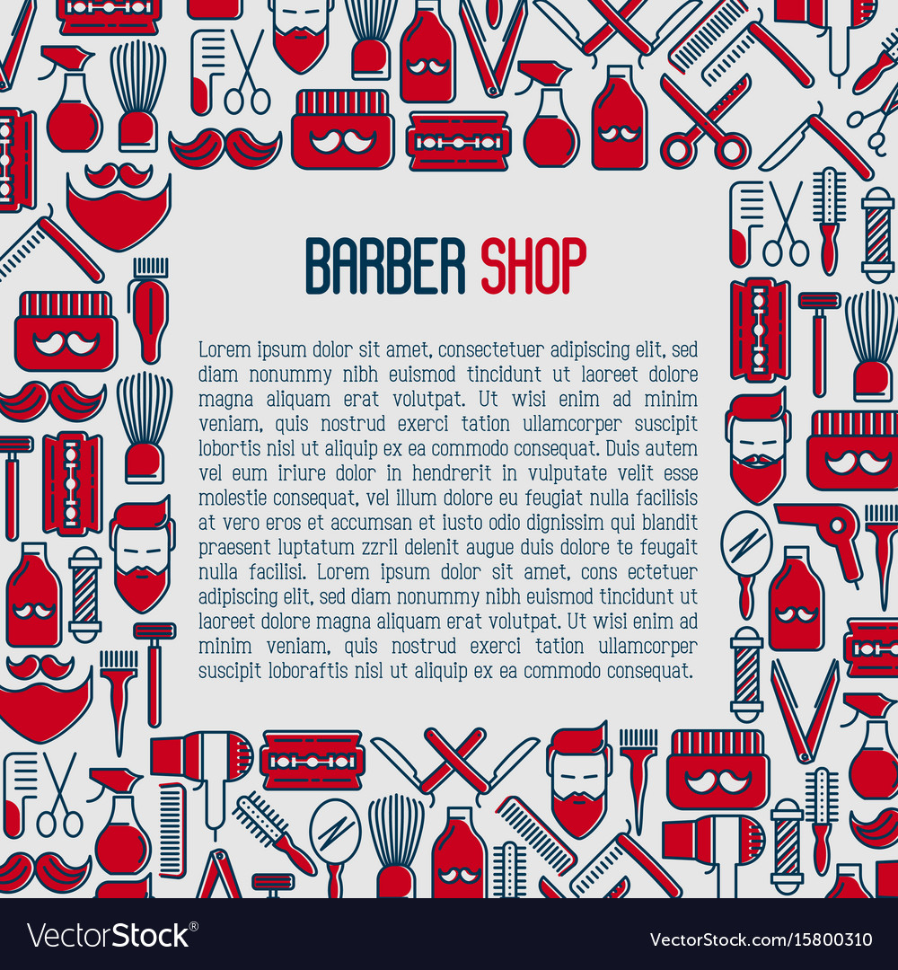 Barber shop concept with thin line icons