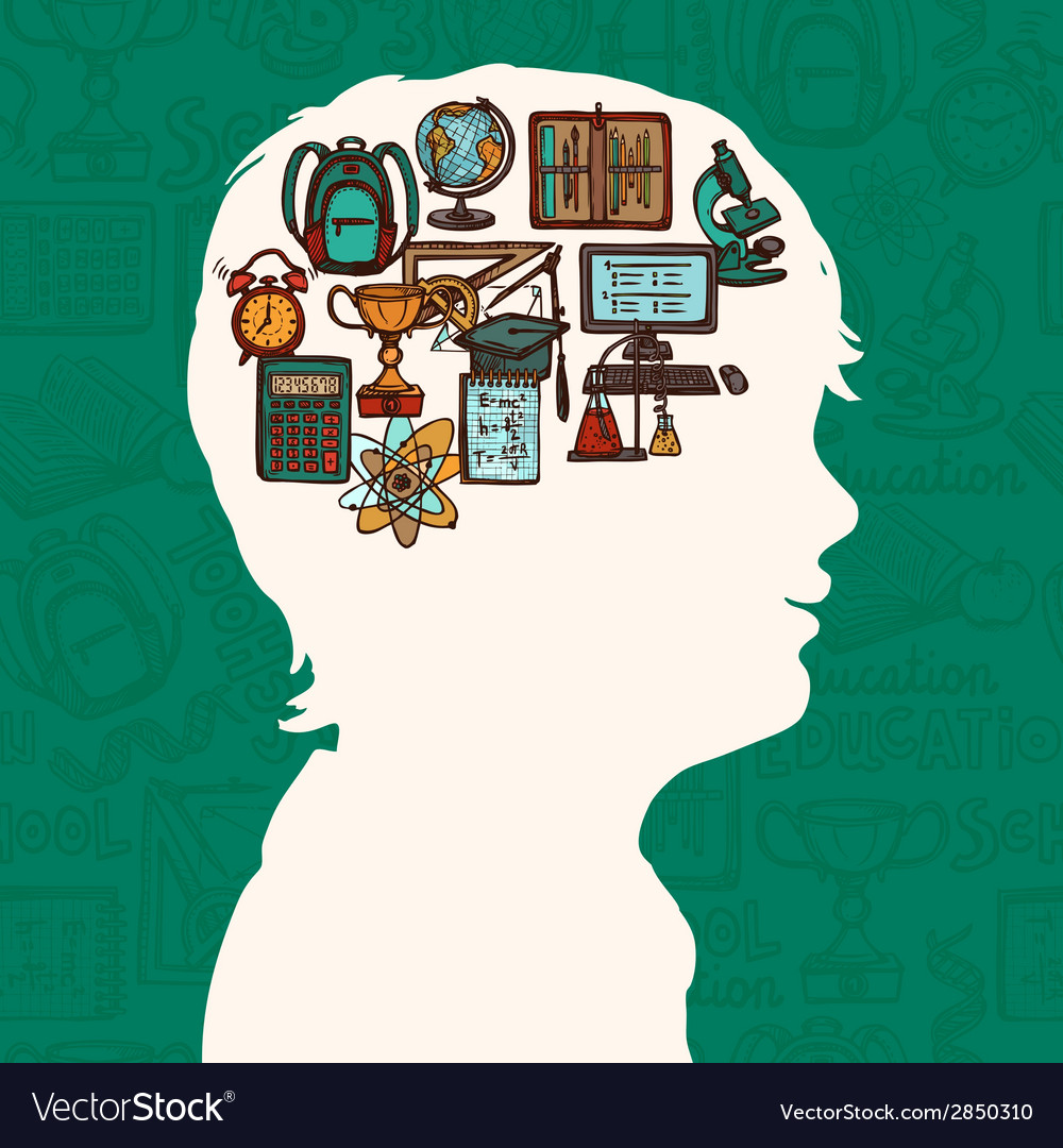 Boy silhouette with education icons