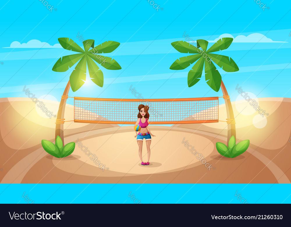 Cute beautiful girl play volleyball