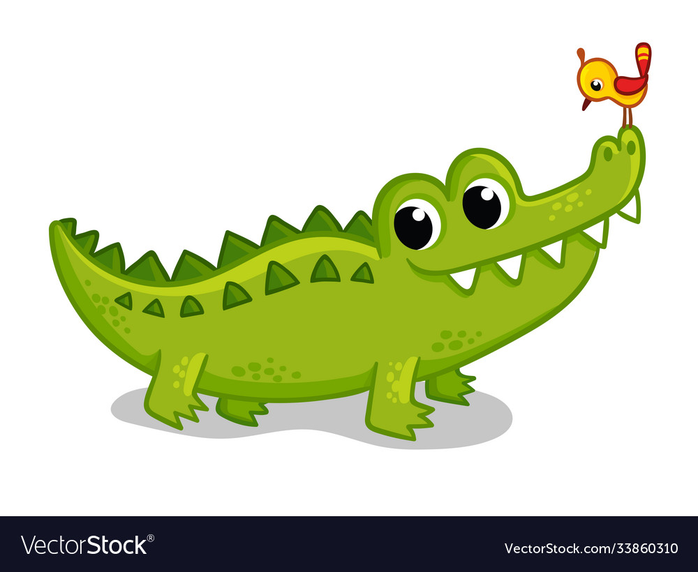 Cute young green crocodile on a white background