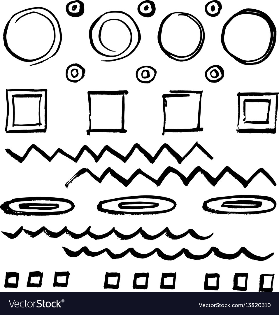 Doodle style sketched frames strokes