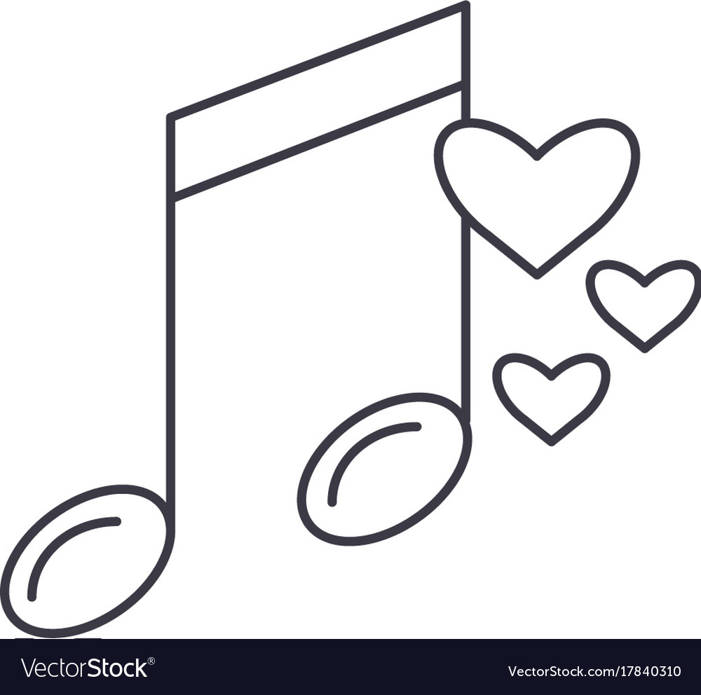 Music note line icon sign on vector image