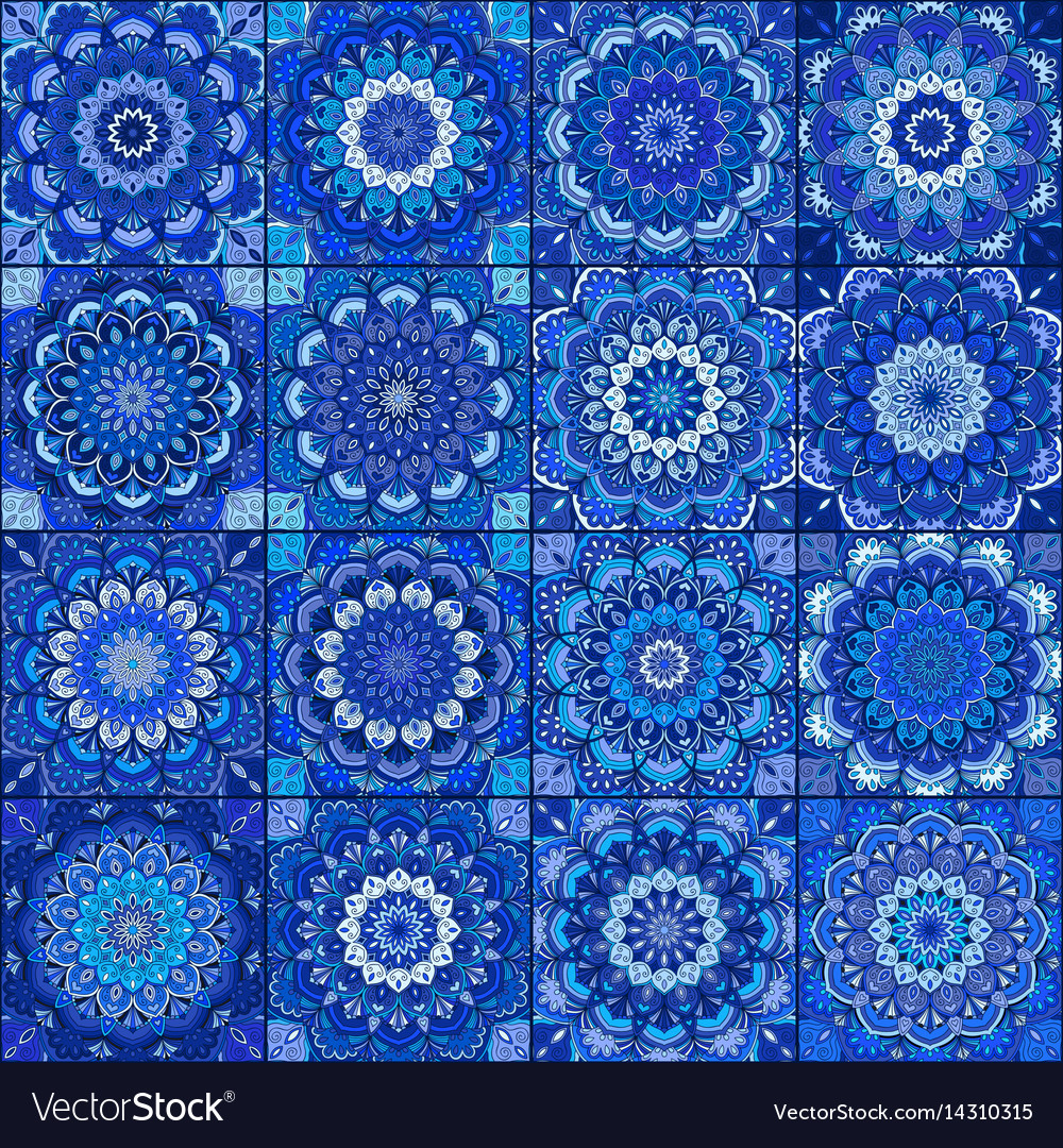 Blue tile boho flower set