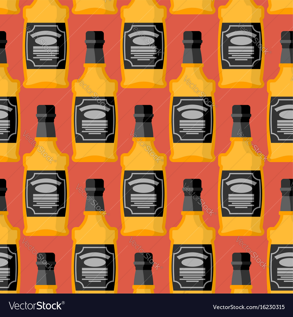 Bottle of whiskey seamless pattern bourbon