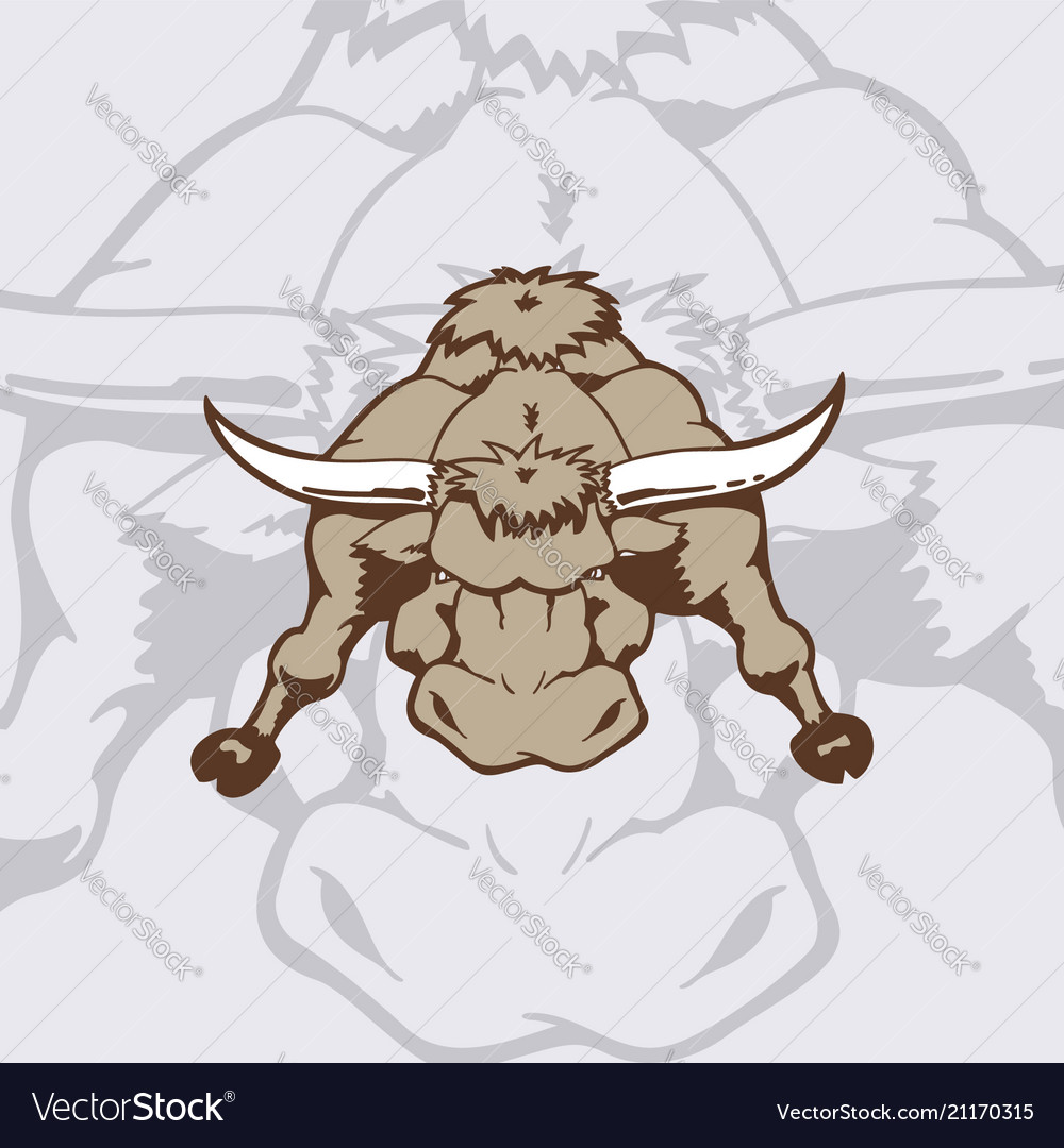 Cartoon angry bull on white background animal